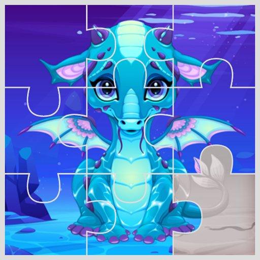 Hra - Cute Unicorns and Dragon Puzzle